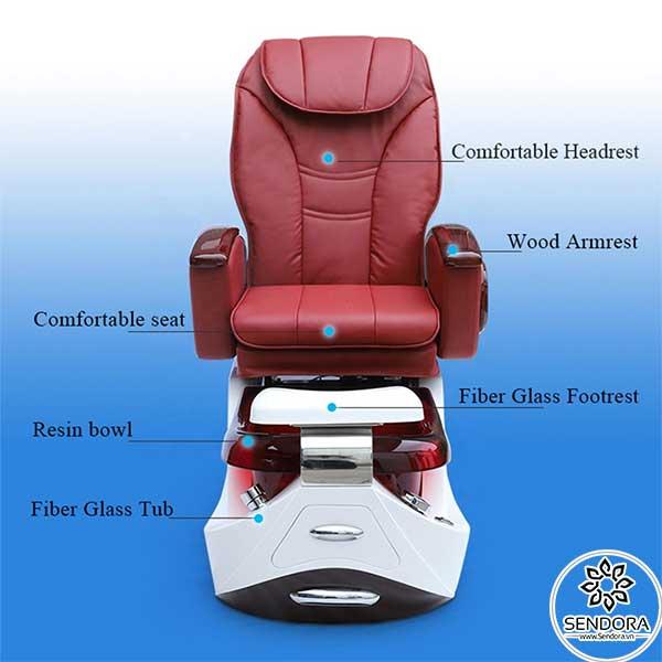 Các thành phần chính trên ghế Pedicure cao cấp Hi-MEC mẫu 6