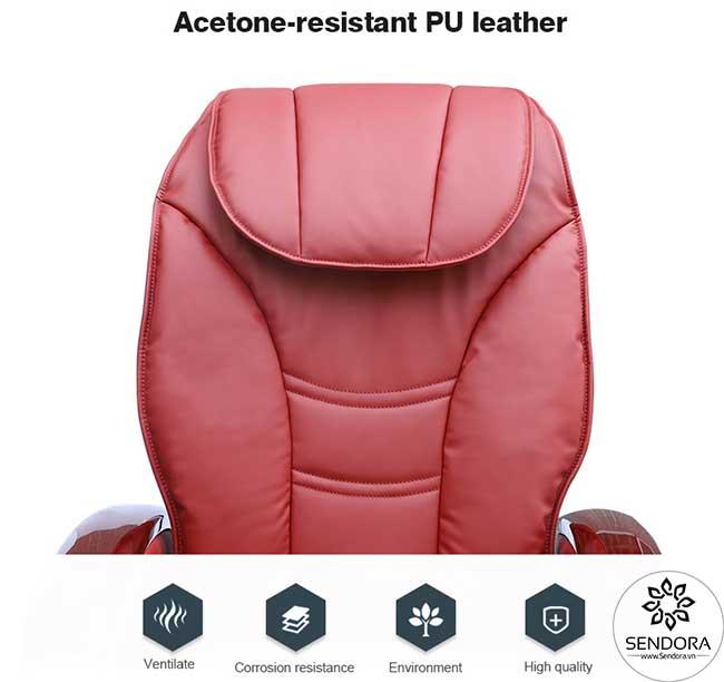 Da bọc đệm ghế bằng chất liệu cao cấp chống sự ăn mòn của axeton rất tốt