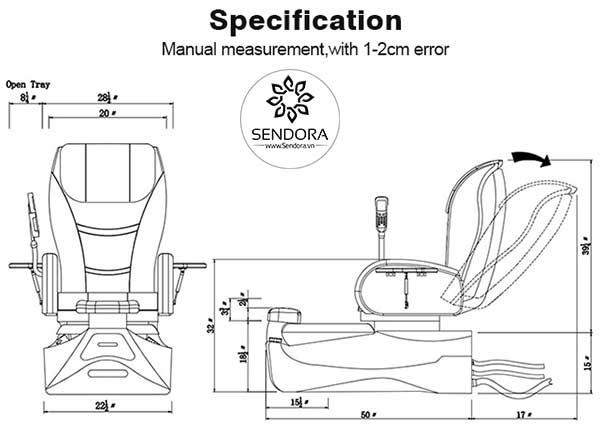 Kích thước của ghế massage nail cao cấp Hi-MEC mẫu 6