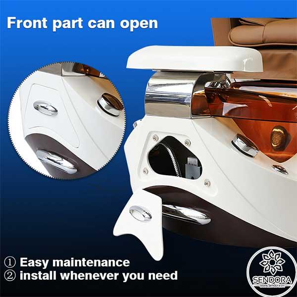 Nắp bảo vệ được lắp phía trước chân đế giúp dễ dàng bảo trì, sửa chữa các linh kiện bên trong