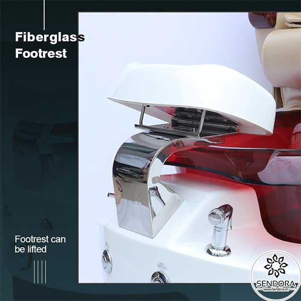 Ghế nail Hi-MEC có kệ gác chân làm móng bằng nhựa pha sợi thủy tinh, có khả năng thay đổi chiều cao theo nhu cầu