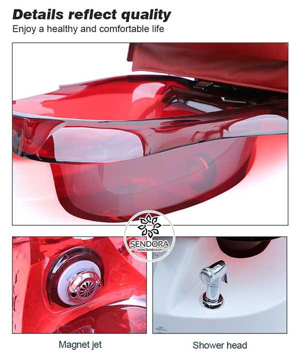 Ghế Pedicure Hi-MEC mẫu 7 với thiết kế bồn ngâm chân dung tích 5 gallon (tương đương 18.93 lít nước), nút nhấn kích hoạt chế độ tạo xoáy nước massage chân và đèn LED, cũng như có vòi sen áp lực cao giúp vệ sinh bồn rửa chân cũng như thiết bị tạo xoáy nước