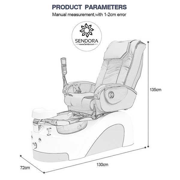 Kích thước của ghế Spa Pedicure cao cấp Hi-MEC mẫu 7