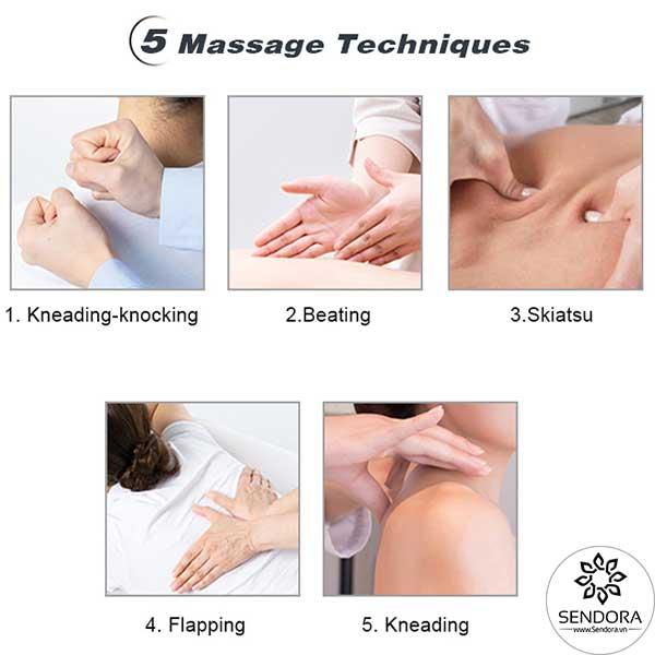 Ghế massage làm nail có thể mô phỏng 5 kỹ thuật massage ấn huyệt