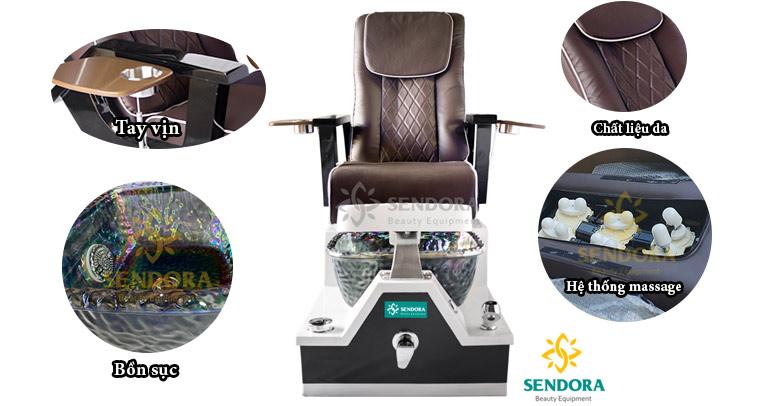 Các bộ phận của ghế nail có hệ thống massage