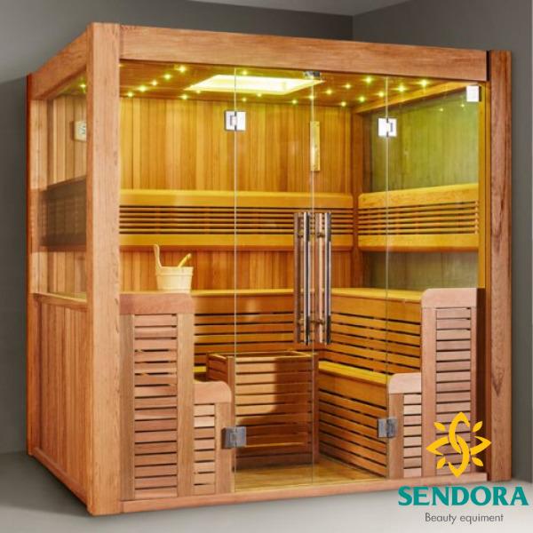 Phòng xông hơi mini gia đình gỗ thông