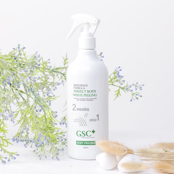 Chai xịt tắm trắng GSC Perfect Body White Peeling dung tích 500ml