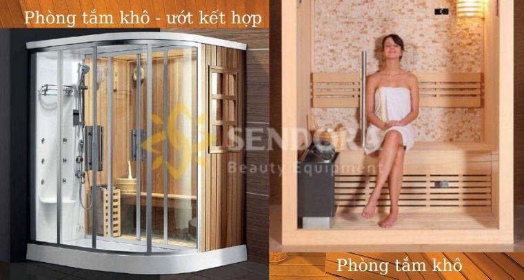 So sánh phòng tắm kết hợp xông hơi và phòng xông hơi khô